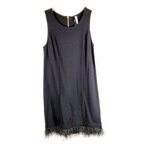 kensie Black Sleeveless Dress with Feather Trim